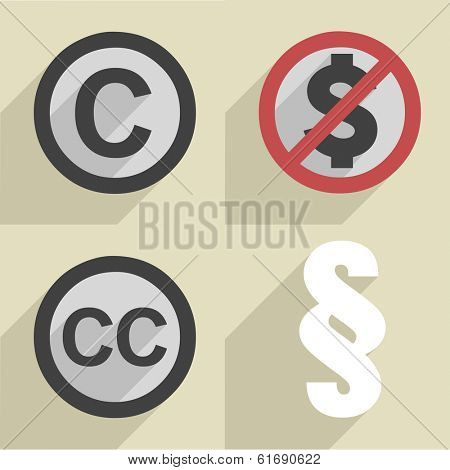 minimalistic illustration of a set of different copyright icons, eps10 vector