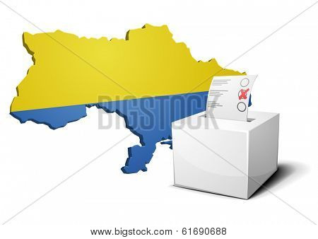 detailed illustration of a ballot box in front of an ukrainian map, eps10 vector