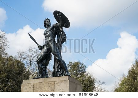 Statue of Achilles in Hyde Park, London, UK, dedicated to the Duke of Wellington and forged with the bronze from captured cannons in campaigns.