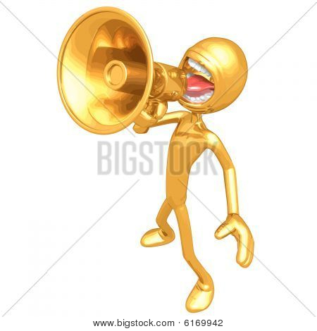 Gold Guy With Megaphone