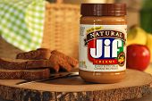 LEXINGTON, KY - MARCH 15,2014:  JIF natural peanut butter.  JIF is the leading brand of peanut butte
