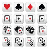 stock photo of ace spades  - Vector buttons set of cards  - JPG