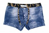 Men's Boxer Shorts With A Denim Pattern.