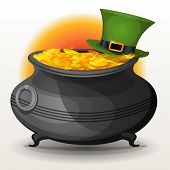 image of cauldron  - Illustration of a cartoon cauldron full of golden coins with green hat for st - JPG