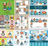 stock photo of animated cartoon  - cartoon robot card vector art and illustration for funny pattern or background - JPG