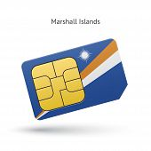 Marshall Islands mobile phone sim card with flag.