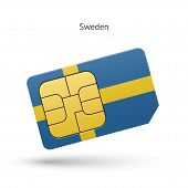 Sweden mobile phone sim card with flag.