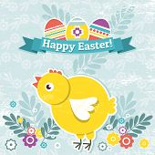 image of bird egg  - background with easter eggs and one chick vector - JPG