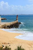 stock photo of lagos  - seafront of Lagos Algarve Portugal called Forte Ponta da Bandeira