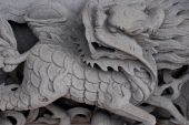 picture of chinese unicorn  - Chinese unicorn by stone carving on taoism temple - JPG
