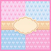 set of pink and blue vector seamless patterns