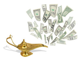 stock photo of aladdin  - Money fly out of Aladdin - JPG