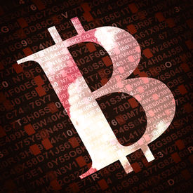 picture of bit coin  - Bit coin the virtual currency symbol illustration with numbers and letters on background - JPG