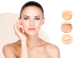 image of foundation  - Model face of beautiful woman with foundation on skin make - JPG