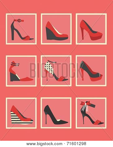 Unique red women shoes icons set