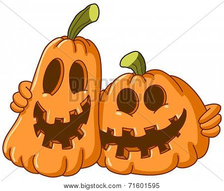 Two pumpkins hugging each other