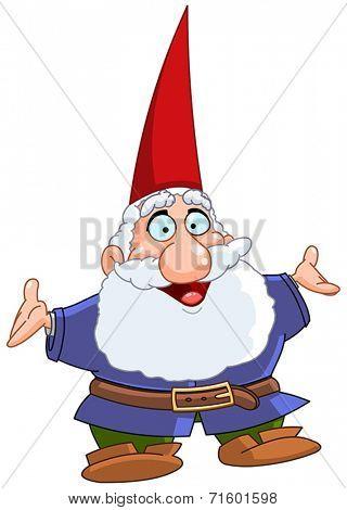 Happy gnome raising his arms