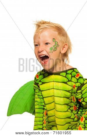 Roaring boy in monster dragon costume
