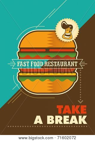 Modern fast food poster. Vector Illustration.