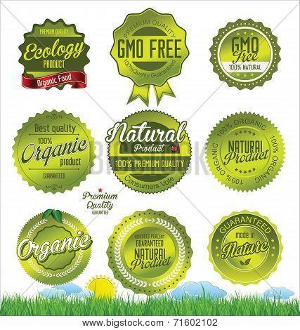 Natural, organic product retro Labels