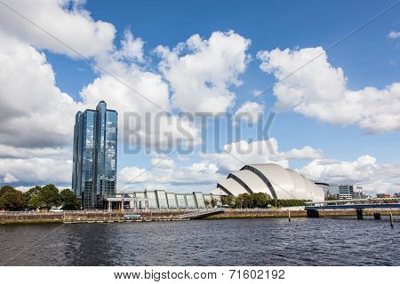 Glasgow, Scotland, UK - 23 August 2014: Contemporary architecture of Clyde Auditorium - concert venue in Glasgow.