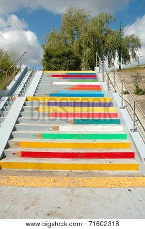 Coloured Pencils Painted On Stairs In Poznan, Poland
