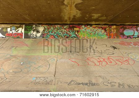 Graffiti On Wall Under Bridge In Poznan, Poland