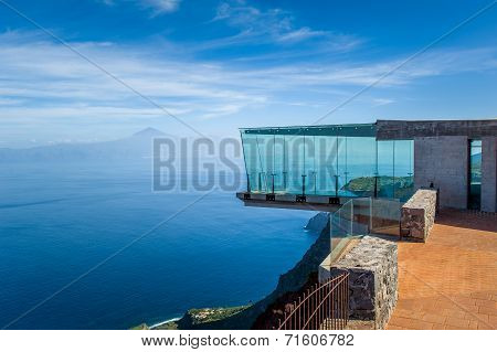 Glass observation tower at mountains. La Gomera islands
