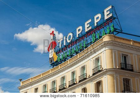 Historical Tio Pepe Sign In La Puerta Del Sol Square In Madrid