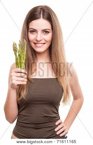 Girl Grabbing Asparagus