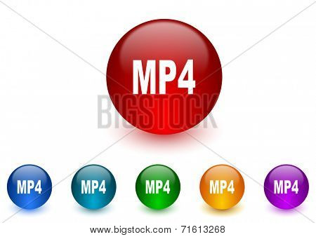 mp4 internet icons colorful set