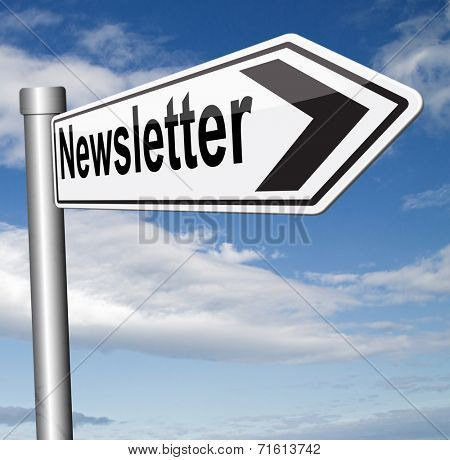 Latest news in newsletter with daily facts and latest hot items road sign arrow