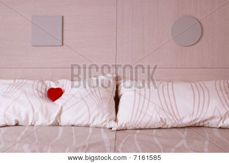 Red Heart On Pillow. Love And Romance Symbol.