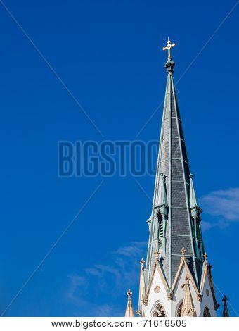 Church Spire On Blue Sky