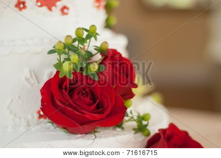 Close Up Of Rose On A Wedding Cake