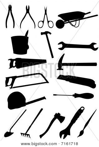 Set of detailed tools isolated on white background