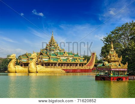 Yangon icon landmark and tourist attraction:  Karaweik - replica of a Burmese royal barge at Kandawgyi Lake, Yangon, Myanmar (Burma)