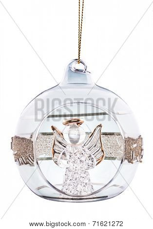 Christmas ball with angel inside isolated on white
