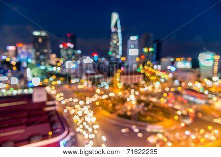 Saigon City Bokeh abstract Background