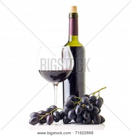 Winery Background With Bottle Of Red Wine And Glass.