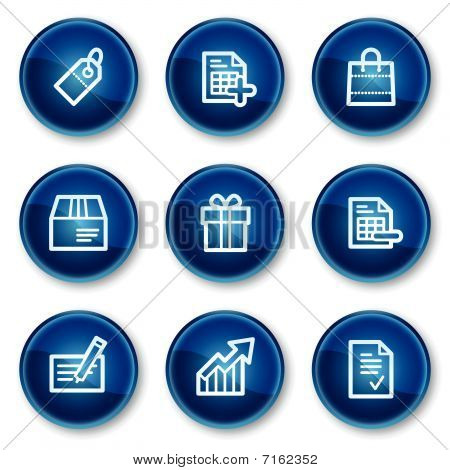 Shopping web icons set 1, blue circle buttons