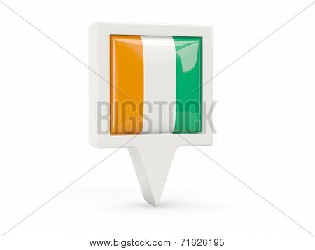 Square Flag Icon Of Cote D Ivoire