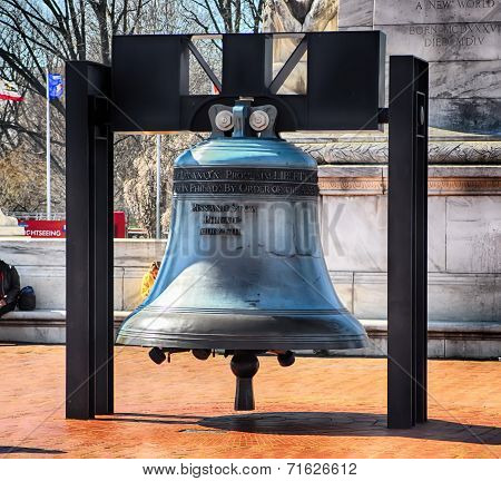 Liberty Bell Replica In Front Of Union Station In Washington D.c.