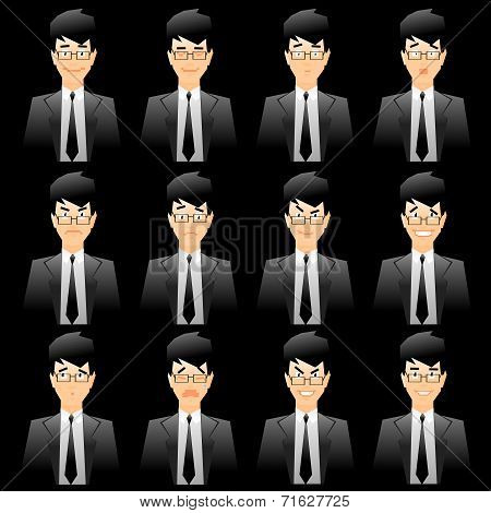 Business Man Facial Expressions