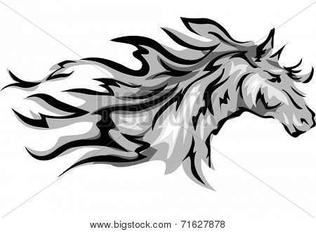 Illustration Featuring a Horse with Flowing Mane
