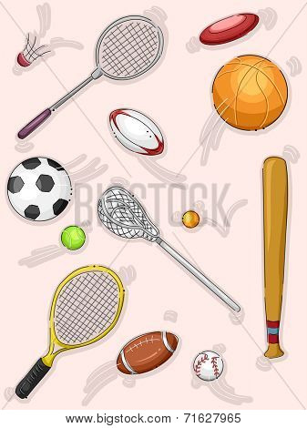 Illustration Featuring Different Sports Equipment