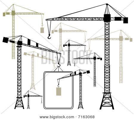 Vector cranes silhouettes