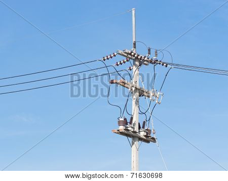 Power Supply Line With Wires Over  Blue Sky