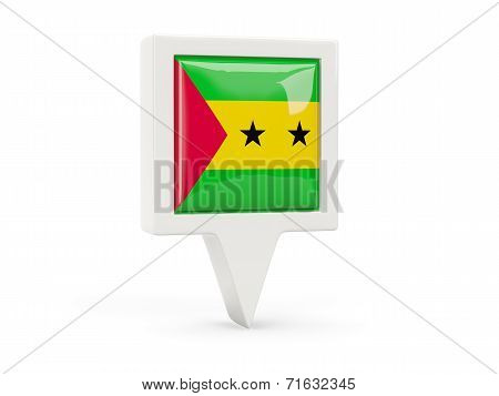 Square Flag Icon Of Sao Tome And Principe