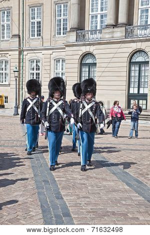 Denmark. Copenhagen. Changing Of The Guard Of The Amalienborg Palace.